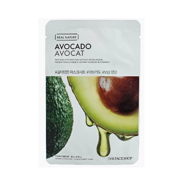 Тканевая маска с экстрактом авокадо Real Nature Avocado, THE FACE SHOP